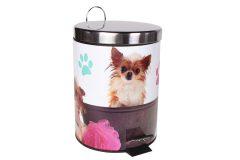 Κάδος μπάνιου μεταλλικός 5 λίτρα με ΙΝΟΧ καπάκι Φ20Χ27 εκ. σχ. DOGS