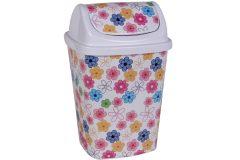 Κάδος αχρήστων πλαστικός 26Χ23Χ40 εκ. με αιωρούμενο καπάκι χρ. λευκό με λουλούδια