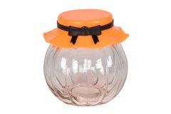 Βάζο αποθήκευσης γυάλινο 235 ml Φ8Χ8 εκ. με πλαστικό καπάκι χρ. πορτοκαλί