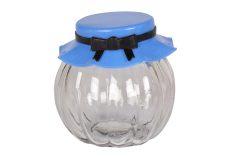 Βάζο αποθήκευσης γυάλινο 235 ml Φ8Χ8 εκ. με πλαστικό καπάκι χρ. μπλε