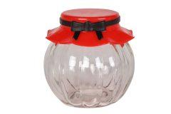 Βάζο αποθήκευσης γυάλινο 235 ml Φ8Χ8 εκ. με πλαστικό καπάκι χρ. κόκκινο