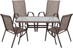 Σετ τραπέζι μεταλλικό χρ. καφέ με Rattan 120Χ70Χ72 εκ. & 4 πολυθρόνες με TEXTLINE - HL12070-BR-BR