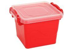 Τάπερ - δοχείο φαγητού πλαστικό 550 ml 11,5Χ10,5Χ9 εκ. με σύστημα ασφαλείας χρ. κόκκινο