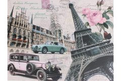Πίνακας τοίχου ξύλινος με τύπωμα 25Χ19 εκ. σχ. PARIS CAR