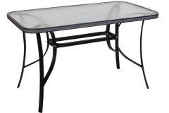 Τραπέζι μεταλλικό με RATTAN 120Χ70Χ72 εκ. χρ. μαύρο με τζάμι ασφαλείας