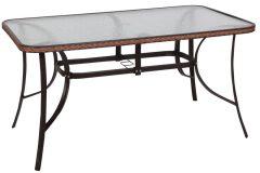 Τραπέζι μεταλλικό με RATTAN 140Χ80Χ72 εκ. χρ. καφέ με τζάμι ασφαλείας