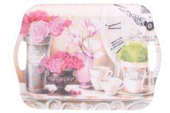 Δίσκος σερβιρίσματος πλαστικός μελαμίνης 36,5Χ26,5 εκ. σχ. FLOWERS - COFFEE