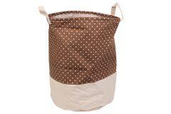 Καλάθι απλύτων - σάκος αποθήκευσης Φ34Χ47 εκ. σχ. πουά χρ. καφέ