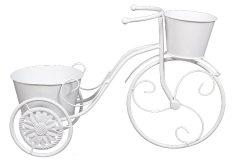 Ζαρντινιέρα μεταλλική 2 θέσεων 48Χ18Χ32 εκ. σχ. ποδήλατο χρ. λευκό