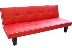Τριθέσιος καναπές κρεβάτι με επένδυση PU 177Χ83Χ69 εκ. χρ. κόκκινο – HL0723