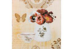 Πίνακας τοίχου ξύλινος 15Χ15 εκ. με τύπωμα σχ. FLOWER BUTTERFLY