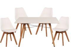 Σετ τραπεζαρίας 5 τεμ. 120Χ80Χ82 εκ. & 4 καρέκλες PP με PU λευκό