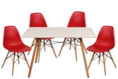 Σετ τραπεζαρίας 5 τεμ. 120Χ80Χ82 εκ. & 4 καρέκλες PP χρ. κόκκινο