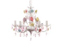 Φωτιστικό κρεμαστό 6 Χ Ε14 Φ60 εκ. χρ. Λευκό σχ. BIRDS με ροζ κρύσταλλα & τριαντάφυλλα