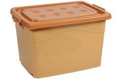 Μπαούλο αποθήκευσης πλαστικό με ροδάκια 62Χ46,5Χ41,5 εκ. χρ. μπεζ - καφέ
