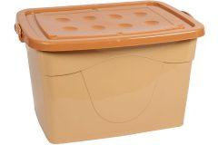 Μπαούλο αποθήκευσης πλαστικό με ροδάκια 78Χ60Χ49 εκ. χρ. μπεζ - καφέ