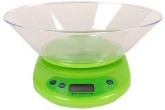 Ζυγαριά κουζίνας ηλεκτρονική 5 κιλών με μεγάλο κάδο χρ. πράσινο