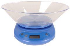Ζυγαριά κουζίνας ηλεκτρονική 5 κιλών με μεγάλο κάδο χρ. μπλε