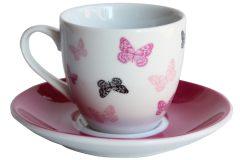 Φλιτζάνι καφέ τεμ. 1 πορσελάνης με πιατελάκι 105 ml σχ. φούξια πεταλούδες
