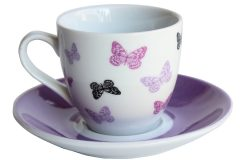 Φλιτζάνι καφέ τεμ. 1 πορσελάνης με πιατελάκι 105 ml σχ. μωβ πεταλούδες