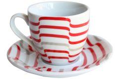 Φλιτζάνι καφέ τεμ. 1 πορσελάνης με πιατελάκι 105 ml σχ. LINES
