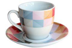 Φλιτζάνι καφέ τεμ. 1 πορσελάνης με πιατελάκι 105 ml σχ. Σχήματα