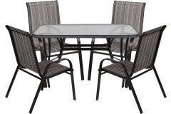 Σετ τραπέζι μεταλλικό χρ. μαύρο με Rattan 120Χ70Χ72 εκ. & 4 πολυθρόνες με TEXTLINE - JAYDON HLR12070- BL- LINE
